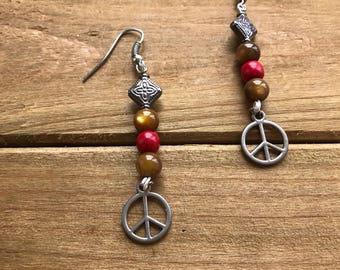 Beaded Peace Sign Earrings