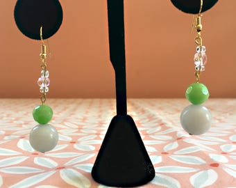 Upcycled Green Drop Earrings