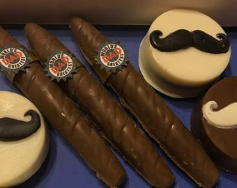 Cigar and Mustache chocolate dipped Pretzels and Oreos