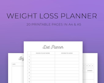 Weight Loss Printable Planner, Weight Loss plan, weekly food log, fitness tracker, A4, A5, Healthy Lifestyle, Motivational Chart, Nutrition