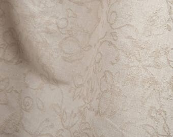 Gray floral Linen-Cotton blend FABRIC by the yard - made in Europe - Medium Weight