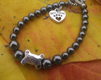 Hemalyke Beaded Bracelet.  Best Friend Heart Paw Charm.  Original design.  Black , Silver. Dog rescue dog lover's jewelry.