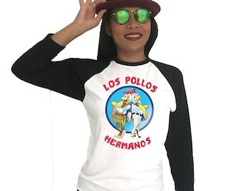 los pollos hermanos Breaking Bad Raglan 3/4 sleeves Unisex Men Women Tee Shirt T-Shirts funny Gift birthday gift Printed