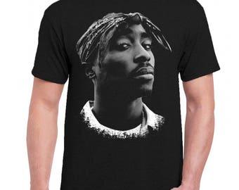 Tupac Shakur 2pac Hip Hop Men Tee Shirt T-Shirts Black / Dark Gray