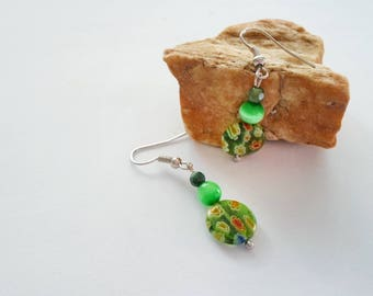 Green Floral bead earrings, Spring meadow earrings