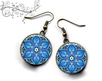 Mandala earrings blue flowers, cabochons