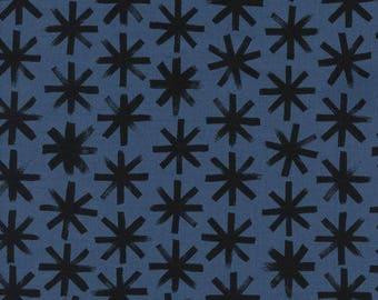 Cotton + Steel, SS Bluebird, Plink Plink in Black, Black and Blue Fabric, Denim Blue Quilting Cotton, Asterisk Fabric, Telephone Fabric