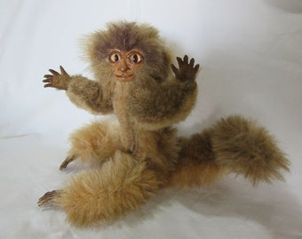 Monkey. Collectable. Poseable. One of a kind. Handmade. Art Doll.