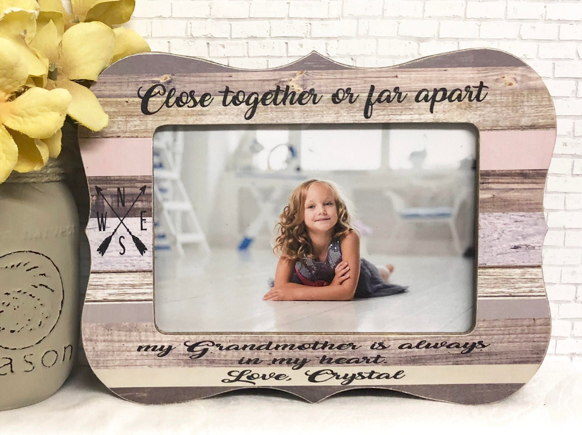 Close Together Or Far Apart Quote Grandma Frame Personalized