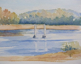 "Original watercolor painting: ""Sail on the Loire"""