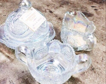 Great Set!! Opalescent Carnival Glass Sugar, Creamer and Butter/Cheese Dish
