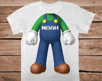 Super Mario Luigi Body Shirt Tee Tees T-shirt For Kids Video Game Luigi T-Shirt Luigi Bros Tees Full Body Luigi Onesies and Shirts, bb54