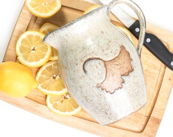 Stoneware Pitcher / Lemonade Pitcher/ Nature Pitcher / Ceramic Pitcher / Pottery Pitcher / Pottery Gift / Ginkgo Pitcher /IN STOCK