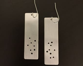 Handmade Silver Rectangle Earrings