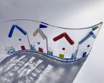 Large Fused glass beachhut  panel