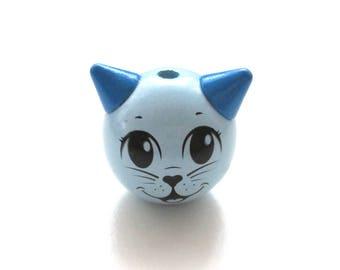 3D cat tender blue wooden bead