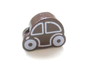 Small car - chocolate wooden beads