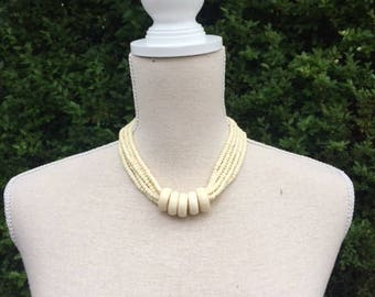 Vintage necklace, ivory color beads necklace. Choker. Beads, beads necklace.