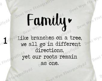 "Family Cushion - Family - Gift - New Home - 16""x16"""