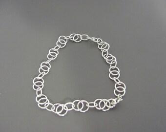 Sterling Silver Bracelet, Silver Minimalist Bracelet,  Silver Circle Bracelet, Dainty Bracelet Layering Bracelet , Chain bracelet