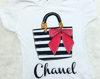 Coco Classy Purse With Pink Ribbon Tee / Paris Pink Ribbon Classy Purse / Chanel Inspired T-Shirt