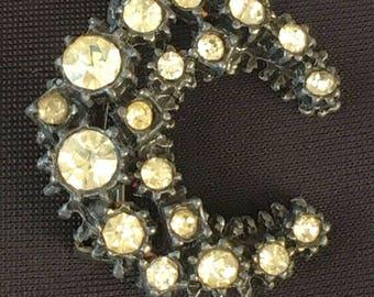 Dark Metal Crescent Moon Brooch with Paste Gemstones