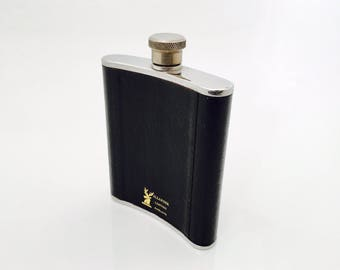 Vintage Drinking Flask, Stainless Steel and Black Allander  Leather England Cover, Travelling Metal Flask