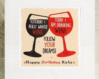 Personalised Happy Birthday Card with wine Fun friends sister girlfriend