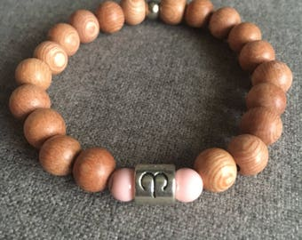 Aries Rosewood and Pink Magnesite Beaded Bracelet
