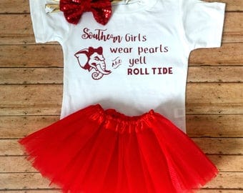 Alabama Baby Outfit, college football baby, roll tide outfit, alabama toddler outfit, roll tide baby, football baby girl outfit , bama baby
