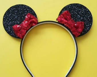 Bitty Bow Minnie Mouse Ears || Mouse Ear Headband || Mickey Ears ||  Headband || Flower Mouse Ears || Mouse Ear Headband