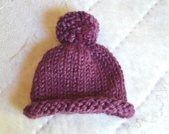 Toddler Purple Wool Knit Beanie