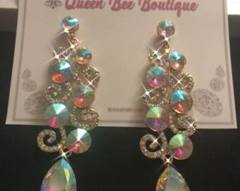 Auroura Borealis Crystal Swirl Chandelier Earrings