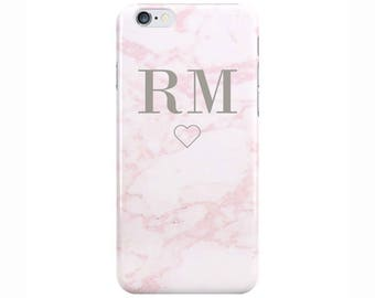 Personalised Name initials Pink Marble Phone Case Cover Love Heart for Apple iPhone 6 6s 7 8 10 X Plus & Samsung Galaxy Customized Monogram