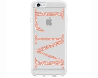 Personalised Rose Gold Glitter initials Gel Phone Case for Apple iPhone 5 6 7 Plus & Samsung Galaxy Personalized Customized Monogram