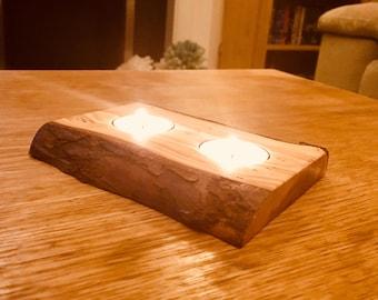 Log Tea Light Holder
