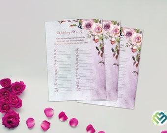 Printable Roses Floral Wedding A to Z Bridal Shower Game Floral Games Pink Peonies Flowers Wedding Trivia Bridal Quiz DIY Bridal Games