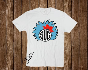 Dr. Seuss Thing 1 And Thing 2 Blue Hair With Circle Monogram