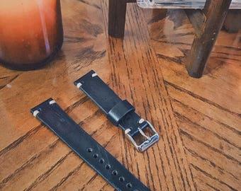20mm Black Handmade Watch Strap by Schudi