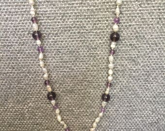"""Hand beaded necklace 20"""" Freshwater pearl, amethyst"""