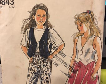 Simplicity pattern 9843 - child's and girls' vest, skirt and pants size 4-12 - uncut