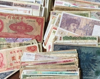 Lot of 25 Vintage Foreign World Currency/Banknotes