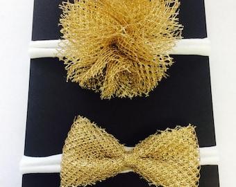 Gold Shimmer Tulle Baby Headbands
