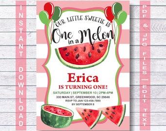 Watermelon Invitation, Watermelon Birthday Invitation, INSTANT DOWNLOAD, summer invitation, watermelon party, One in a Melon invitation