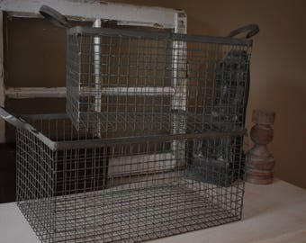 Vintage Wire Basket, Storage Basket, Metal Basket, Farmhouse Decor,