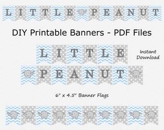 Little Peanut Banner - Light Blue & Light Grey - Elephant Baby Shower - PRINTABLE - INSTANT DOWNLOAD