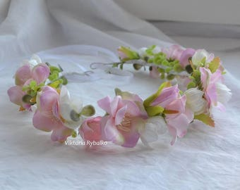 Ready to ship pink flower crown Wedding flower crown Girls flower crown Bridal floral crown pink and white flower wreath