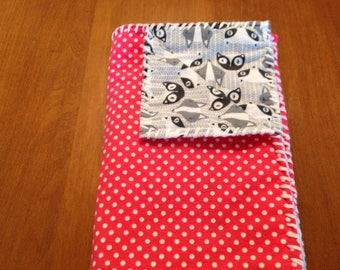 Handmade Melon Polka Dot & Gray Fox Print SnuggleBuggCo Original Baby Blanket