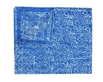 Ganasha special Indigo Kantha queen Quilt Blue Color Kantha Throw Reversible Kantha Quilt reversible kantha blanket recycled kantha quilt