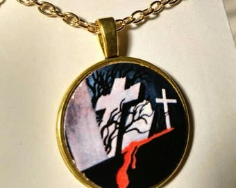 Vintage-Style Horror Pendant, Graveyard Necklace, Headstone Jewelry, Creepy Jewelry, Cemetery, Tombstone